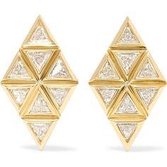Melissa Kaye Chloe Violet 18-karat gold diamond earrings (21,465 PEN) ❤ liked on Polyvore featuring jewelry, earrings, geometric jewelry, post earrings, 18k jewelry, diamond post earrings and 18 karat gold earrings
