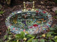 Mixed Media glass mosaic birdbath in artist's private collection.