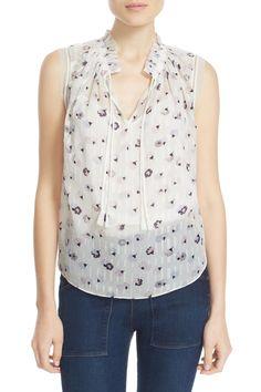 'Sakura' Print Sleeveless Clip Jacquard Top