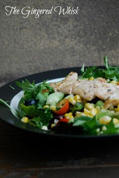 The Gingered Whisk: Grilled Chicken, Corn and Blueberry Salad with Lemon Vinaigrette