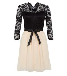 Black Lace Contrast 3/4 Sleeve Bow Skater Dress