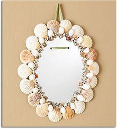 espejo hecho con conchas marinas.19bis.com