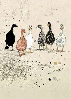 Six Ducks - Bug Art greeting card