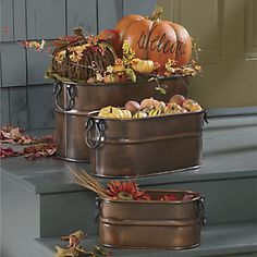 : Decorating your home for fall with copper wash tubs. Autumn Decorating, Porch Decorating, Decorating Your Home, Decorating Ideas, Copper Tub, Copper Planters, Fall Planters, Tin Tub, Modern Fall Decor