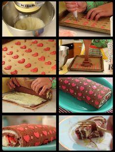 DIY Hearts Pattern Cake Roll - The Idea King