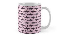 Mugs ••• Rose-Colored Sharkies by Amber Marine ••• AmberMarineArt.com •••