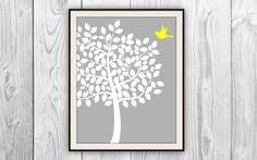 Bird & Tree Art Print  Bird Tree Silhouette  Gray by BySamantha, $6.00