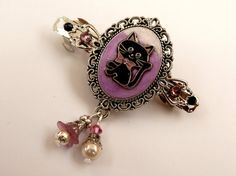 Kleine Haarspange mit Kätzchen in rosa schwarz von Schmucktruhe
