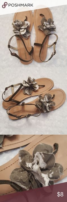 Adorable and unique women's sandals! These super cute sandals are an army green like color with a cream / off-white  color combined. Xhilaration Shoes Sandals