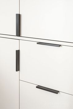 Joseph Giles Dark Bronze CUBE Cabinet Edge Pulls on Contemporary White Bespoke Cupboards
