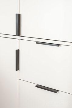 Joseph Giles Dark Bronze CUBE Cabinet Edge Pulls on Contemporary White Bespoke Cupboards