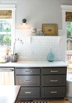 kitchen- subway tile , vintage light open shelf