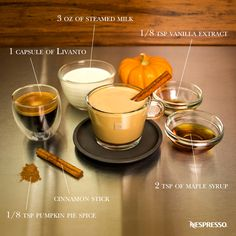 Enjoy a delicious fall recipe with this Nespresso Pumpkin Spice Latte. Reduced maple syrup to 1 tsp, omitted cinnamon stick. Threw the milk, maple syrup, pumpkin spice, and vanilla in the aerocinno. Espresso Drinks, Espresso Coffee, Coffee Drinks, Nespresso Recipes, Nespresso Usa, Smoothies, Café Chocolate, Café Bar, Latte Recipe