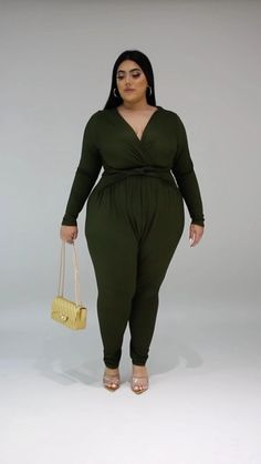 Stylish Plus Size Clothing, Plus Size Outfits, Plus Size Fashion, Curvy Girl Outfits, Curvy Women Fashion, Womens Fashion, Plus Size Girls, Jumpsuit, Long Sleeve