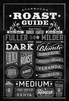 Starbucks Roast Guide Typographic Mural on Behance - Jaymie McAmmond Chalkboard Lettering, Typography Letters, Typography Logo, Graphic Design Typography, Lettering Design, Logos, Coffee Chalkboard, Blackboard Paint, Typography Served