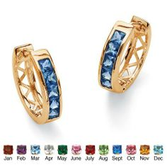 Princess-Cut Channel-Set Simulated Birthstone 18k Yellow Gold-Plated Huggie-Hoop Earrings- September- Simulated Sapphire Palm Beach Jewelry. $27.99