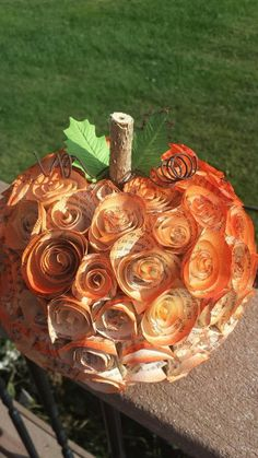 Each pumpkin is covered in hand cut paper book page roses made from an old discarded paperback book. Diy Pumpkin, Pumpkin Crafts, Paper Pumpkin, Autumn Decorating, Pumpkin Decorating, Fall Decor, Old Book Crafts, Book Page Crafts, Diy Old Books