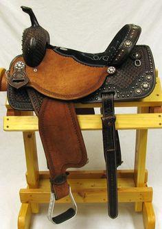 Double J 14 inch Antique Black Pro Racer Barrel Saddle