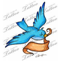 Marketplace Tattoo Bluebird with banner #1682   CreateMyTattoo.com