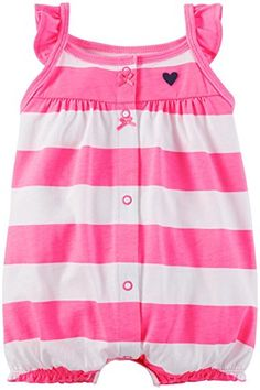 Carters Baby Girls Striped Romper Baby  Pink  3 Months * Read more reviews of the product by visiting the link on the image.