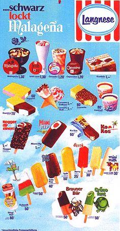 """""""Nogger dir einen"""" - der eingängige Werbeslogan für das wohlbekannte Eis. Außerdem auf dem Plakat von 1979: """"Brauner Bär"""", """"Grünofant"""", """"Mini-Milk"""" und """"Happen"""" - da werden alte Eisträume wieder wahr ..."""