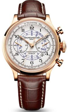 WANT! LOVE IT! Baume & Mercier Capeland Mens Rose Gold Flyback Chronograph Watch 10007