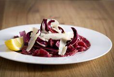 A fresh beef Carpaccio in Theo Randall at the InterContinental Italian Cooking, Italian Recipes, Theo Randall, Panna Cotta, Cabbage, Menu, Fresh, Vegetables, Ethnic Recipes