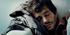 Special Agent Will Graham (Hugh Dancy) from the Hannibal series... waking up like a sleepy puppy.