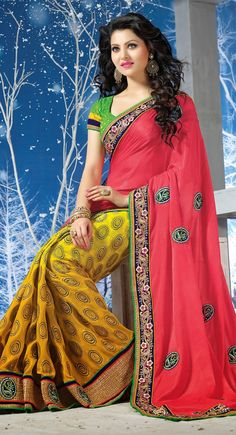 Pink and Yellow color Half And Half Saree-Georgette Embroidered #Saree