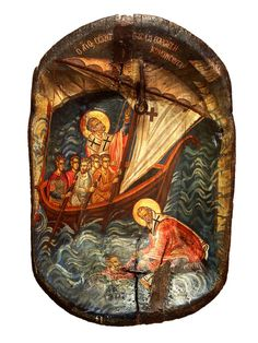 Hand-painted Icon on Wooden Antique Bowl in by BYZANTINO on Etsy