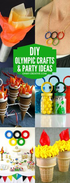 DIY Olympic Crafts and Party Ideas for Summer Olympics and Winter Olympics. Great ideas for the kids or adults including Olympic jewelry, Olympic t-shirts, Olympic…