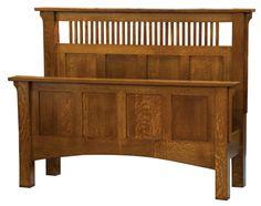 Arts & Crafts Spindle Bed in Quarter-sawn Oak