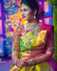 Shop for a variety of blouses in high neck, sleeveless, boat neck, sleeveless, embroidered & more online. Wedding Saree Blouse Designs, Best Blouse Designs, Pattu Saree Blouse Designs, Indian Bridal Sarees, Bridal Silk Saree, Wedding Sarees, Wedding Saree Collection, Bridal Collection, Saree Models