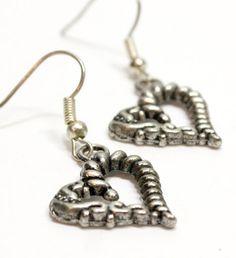 Silver Metal Heart Earrings. Pewter Colored Heart Earrings. Metal Earring with Silver Ear Wires. Twisted Metal Heart Charm Earrings.