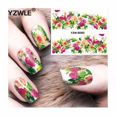 YZWLE 1 Sheet DIY Decals Nails Art Water Transfer Printing Stickers Accessories For Manicure Salon  YZW-8060