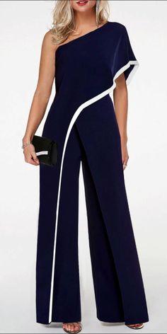 One Shoulder Navy Blue Contrast Trim Jumpsuit One Shoulder Jumpsuit with contrast stripes in navy blue Blue Jumpsuits, Jumpsuits For Women, Elegante Jumpsuits, Jumpsuit Denim, Black Jumpsuit Outfit, Embellished Jumpsuit, Mode Abaya, One Shoulder Jumpsuit, Mode Outfits