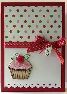 Cute Card! Cupcake & Polka Dots!