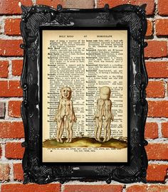 upcycled dictionary page book art, collage o rama, conjoined, twins Print, Downloadable, 8 by 10,  antique book page print on Etsy, $10.00 CAD