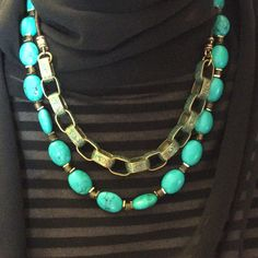 Turquoise Statement Necklace, Turquoise Layered Bib Necklace, Bronze Leather Necklace, Double Strand Southwest Navajo Necklace