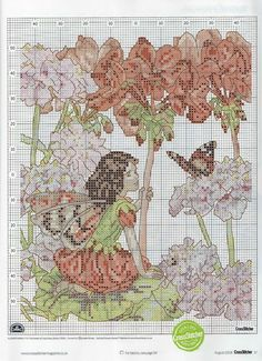 Cross stitch - fairies: Geranium fairy - Cicely Mary Barker (chart)