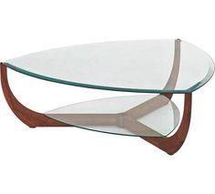 Eleganter Couchtisch Mit Glas Platte In Nuss Holz Farben Von Team