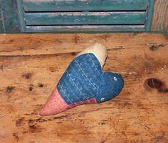 Rustic #Heart for Valentine's Day. Made from antique quilt by Prairie Primitives Folk Art.