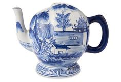 "8"" Pillement Teapot, Blue/White"