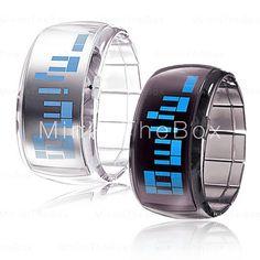 Montre LED futuriste bleue (x2) noir & blanc