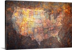 Vintage rusty map of USA