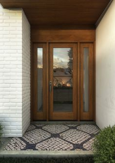 Purchase this Mahogany Wood Exterior, French/ Patio door Single Door is an excellent addition for your home Doors, Mid Century House, Exterior Doors, House Exterior, Mid Century Exterior, House Siding, Transitional Doors, French Doors Patio, Single Entry Doors