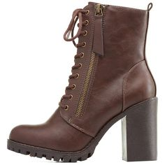 Charlotte Russe Brown Zipper-Trim Chunky Heel Combat Boots by... ($46) ❤ liked on Polyvore featuring shoes, boots, ankle booties, brown, chunky boots, military boots, army boots, zipper combat boots and chunky heel booties