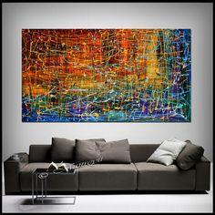 Pittura a olio ASTRATTA ARTE moderna pittura opera rosso blu