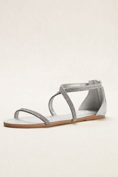 1011b5b3da74 Crystal Crisscross Strap Sandal - Silver Metallic