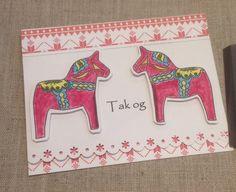 """""""Tak og"""" Scandia  thank you note card. $5.50 with Swedish Dala horse"""